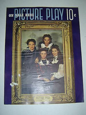 Original Cardboard Advertising Sign - PICTURE PLAY  -1939 - LORETTA YOUNG - L@@K