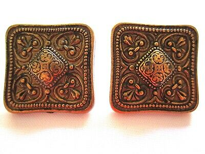 VTG Etruscan Revival Style Stamped Brass Square Pierced earrings-Retro