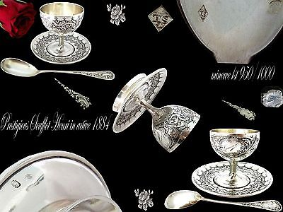 Antique French Sterling Silver Egg Cup and spoon w/box  SOUFFLOT Henri 1884