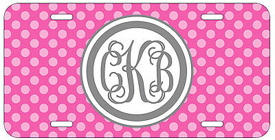 Personalized Monogrammed Polka Dot Hot Pink License Plate Custom Car Tag L476