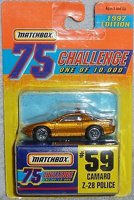 1997 Edition MATCHBOX 75 Challenge Camaro Z-28 Police #59 1 of 10,000 Chase Gold