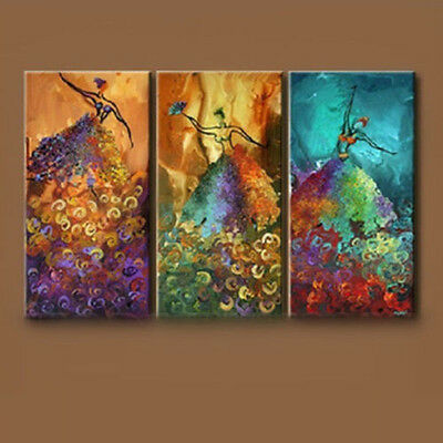 3PCS Abstract Oil Painting On Canvas Peacock Dance No framework