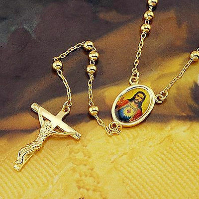 "24"" Cross Jesus Pendant Mini Beads 18k Yellow Gold Filled Unisex Necklace Chain"