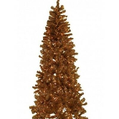 Pre Lit Artificial Christmas Tree 7 Foot Gold Tinsel Tree Holiday Hinged Branch