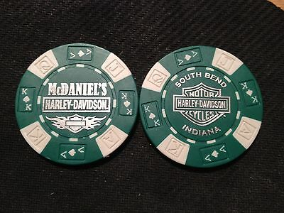 "Harley Davidson Poker Chip (Green & White)  ""McDaniel's H-D""  South Bend, IN"