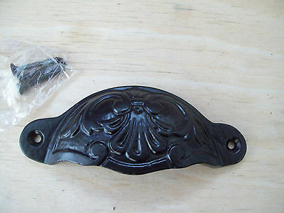 (CODE 15) Cast Iron Black Antique Fancy Shell Cup Pull Drawer Cupboard Handle