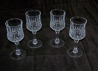 Set of 4 Cristal D'Arques/Durand Longchamp Crystal Water Goblets