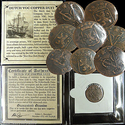 (1) 1726-1794 DUTCH VOC COPPER DUIT Ship Coin East India Co. 1ST New York Penny