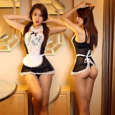 women lace French house maid Cosplay underwear translucent dress erotic Lingerie