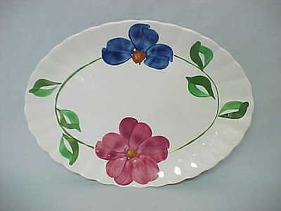 Blue Ridge Pottery Large Oval Platter SHERRY Hand Painted Red Blue Floral Vintag