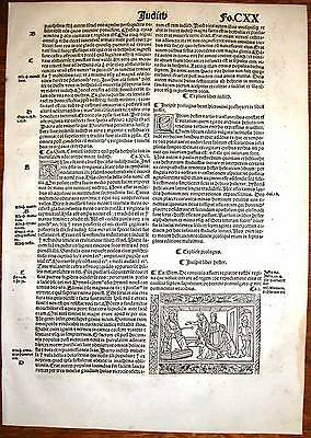 1515-ESTHER BEFORE THE KING-post-incunable woodcutleaf from Sacon-Koberger Bible