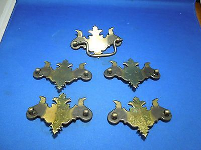 Set of 5 Brass Tone Pressed Steel Drawer Pulls with Out Handles Plates