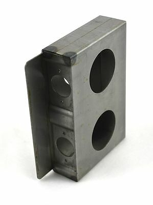 "Gate Lockbox Double Hole Weldable Steel 6 7/8"" x 4 1/2"" x 1 1/2"" Unpainted"