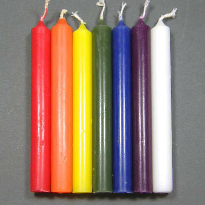 7 x CHAKRA SPELL WORK CANDLES 10cm Wicca Pagan Witch Herb Altar Goth Reiki