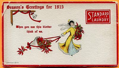 Standard Laundry, Season's Greetings for 1915, Woman with Poinsettias
