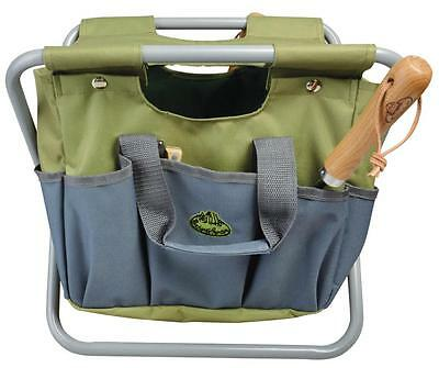 Fallen Fruits tool stool garden tool bag & seat in one carrier toolbox green