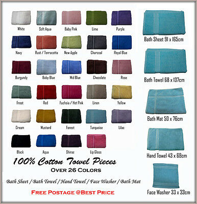 100% Cotton Towel Pieces - Bath Sheet Bath Towel Hand Towel Face Washer Bath Mat