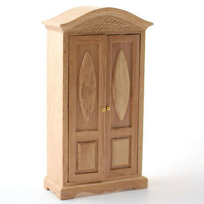 Pine Single Wardrobe, for a Dolls House, Miniature Furniture in 1:12th Scale.