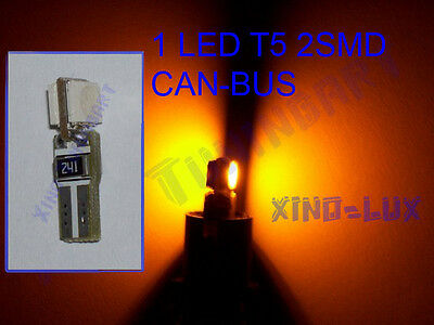 N°1  LED T5 SMD GIALLI AMBRA LUCI ZOCCOLO tuttovetro CRUSCOTTO CAN-BUS 1,2W