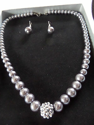 GREY PEARLS & DIAMANTE GLITTER BALL NECKLACE SINGLE PEARL EARRING SET new boxed