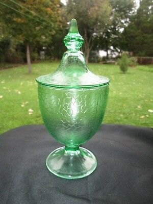 SMITH GREEN BY CRACKY DEPRESSION GLASS SMALL CANDY JAR PERFECT FOR COTTON BALLS