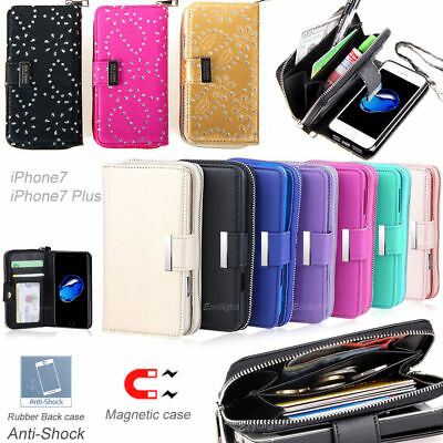 All in One Zip Purse Wallet Leather Case Cover For iPhone X XS SE 5 6 7 8 Plus