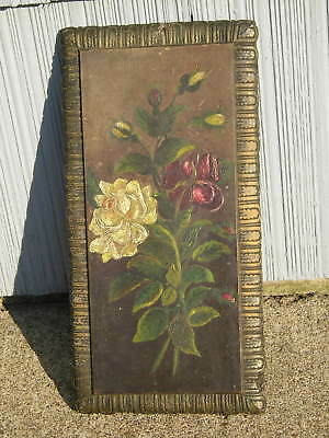 Antique Victorian Painting of Roses Silver Finish Picture Frame Old Nicely Aged