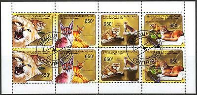 Central African Republic 2011 Wild Cats Caracal Sheet of 8 used