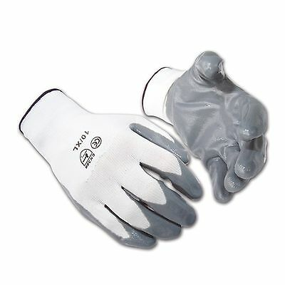 24 Pairs Of New Nitrile Coated Work Gloves White Gray Builders Gardening