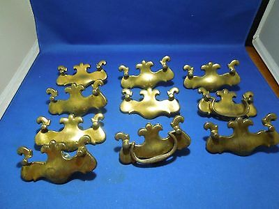 Set of 10 Decorative Brass Drawer Handle Pulls and Plates