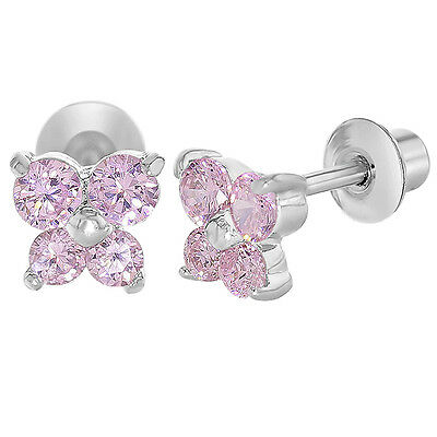 White Gold Filled 18k Pink Crystal Butterfly Baby Screwback Earrings Girl Kids