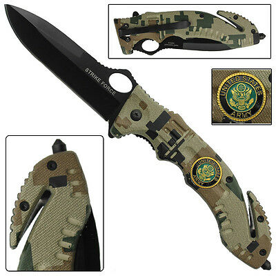 Serve And Protect Folding Army Digi  Tactical Survival Knife- Strike Force