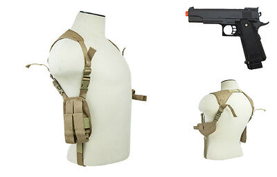 Halloween Costume Tan Pistol Shoulder Holster & Prop Airsoft Gun CV2909T