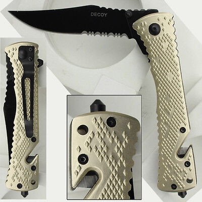Decoy Clip Point Assisted Emergency Champagne Tactical Folding Pocket Knife