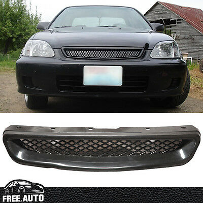 For 1999-2000 Honda Civic JDM EK T-R Style Front Hood Mesh Grill Grille ABS