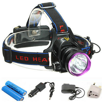 8000Lm T6 LED frontale lampada Headlamp Headlight testa torcia+2x18650+2xcharger
