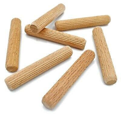 12mm x 70mm HARDWOOD MULTIGROOVE CHAMFERED WOODEN DOWELS FLUTED PINS CRAFT WOOD