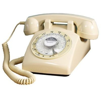 Ivory Retro Rotary Dial Corded Telephone 1970s Style Old Fashioned Desk Phone