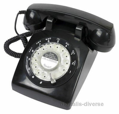 Black Retro Rotary Dial Corded Telephone 1970s Style Old Fashioned Desk Phone