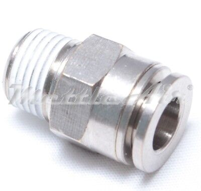 1pc Brass Push in to Connect One Touch Fitting 5/32 ODx1/4 NPT Male BMTC5/32-N02
