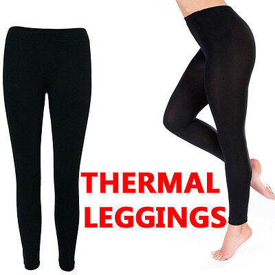 Ladies Thermal Leggings Black Footless Heat Trapper Warm Winter Thick Brushed