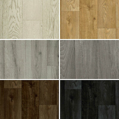 NEW Wood Plank Vinyl Flooring Roll Quality Lino Anti-Slip Kitchen Bathroom Cheap