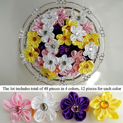 48PC Mirror Bead Flower Dog Hair Bow Grooming Accessory White Pink Yellow Purple