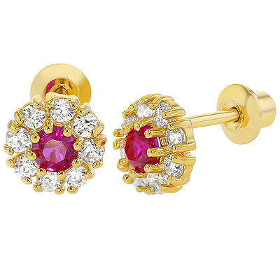 18K Gold Filled Round Crystal Pink Clear Screw Back Earring for Baby Girls Kids