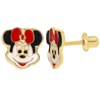 Gold Filled 18k Minnie Mouse Enamel Screwback Earrings Toddlers Girls Children
