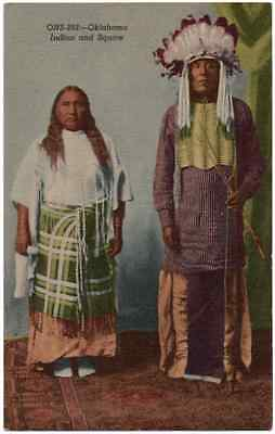 "Vintage Linen Postcard Native American Indian & ""Squaw"" Oklahoma Curteich C.T."