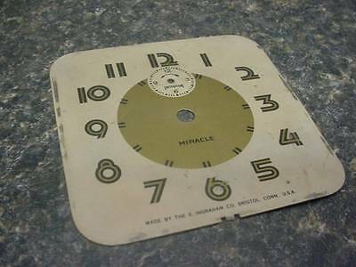 "Vintage Ingraham Miracle Alarm Clock Company 4 1/8"" Replacement Black Dial E133G"