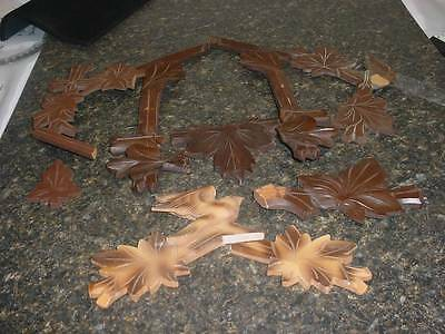 Wooden Cuckoo Coo Coo Clock Bird Trim Topper Part Repair Leaf D044