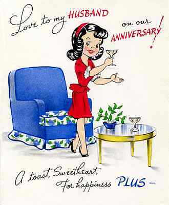 Antique / Vintage inspired Anniversary card for Husband Large 5x7