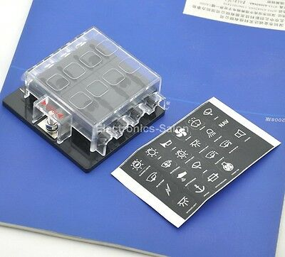 8 Way ATO / ATC Fuse Panel, W/Cover and Label, Fuse Block.